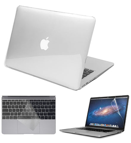 Macbook Case with US/CA Keyboard Cover' and Screen Protector Package | Color Collection - Crystal Clear - Case Kool