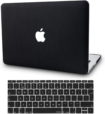 Macbook Case with Keyboard Cover Package | Black leather