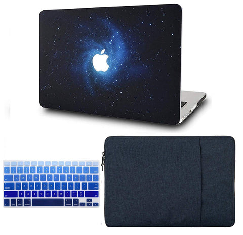 Macbook Case with US/CA Keyboard Cover' and Sleeve Package | Galaxy Space Collection - Blue - Case Kool
