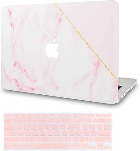 Macbook Case with Keyboard Cover Package | Color Collection - Pink Marble with Gold Stripe