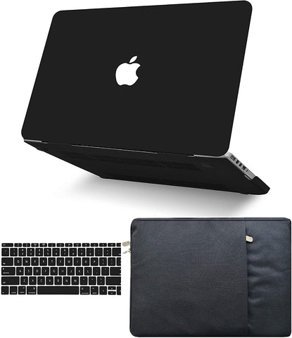 Macbook Case with Keyboard Cover and Sleeve Package | Matte Black