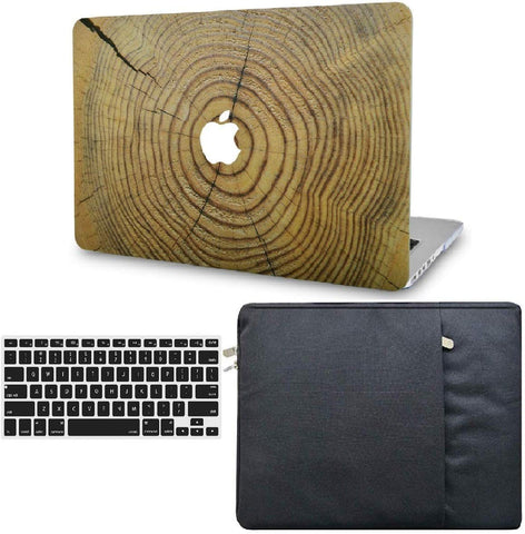 Macbook Case with Keyboard Cover and Sleeve Package | Wood Collection - Cracked Wood