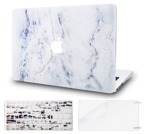 Macbook Case with US Keyboard Cover and Screen Protector Package | Marble Collection - White Marble 3 - Case Kool