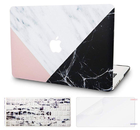 Macbook Case with US Keyboard Cover and Screen Protector Package | Marble Collection - White Marble Pink Black - Case Kool