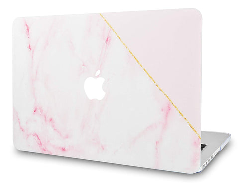 Macbook Case | Marble Collection - Pink Marble with Gold Stripe - Case Kool