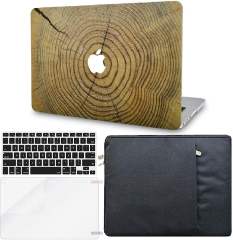 Macbook Case with Keyboard Cover, Screen Protector and Sleeve Package | Wood Collection - Cracked Wood