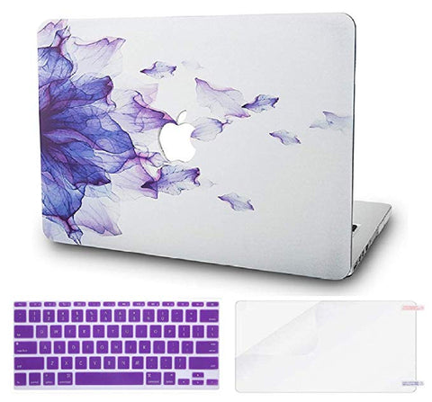 Macbook Case with US/CA Keyboard Cover' and Screen Protector Package | Floral Collection - Purple Flower - Case Kool