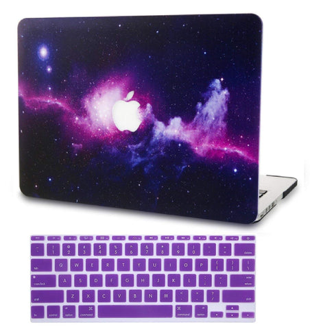 Macbook Case with US Keyboard Cover Package | Galaxy Space Collection - Purple - Case Kool