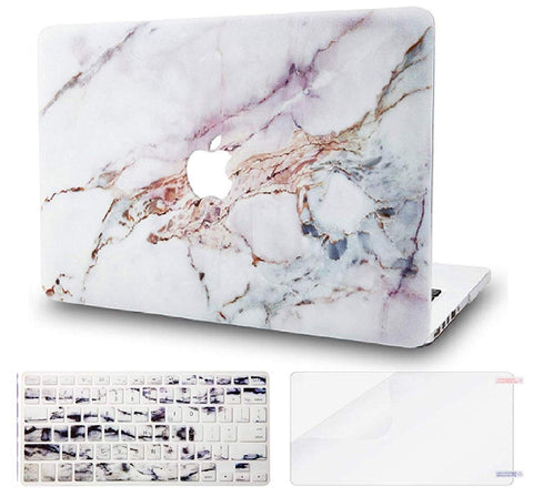 Macbook Case with US/CA Keyboard Cover' and Screen Protector Package | Marble Collection - White Marble 4 - Case Kool