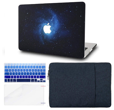 Macbook Case with US/CA Keyboard Cover, Screen Protector and Sleeve Package | Galaxy Space Collection - Blue - Case Kool