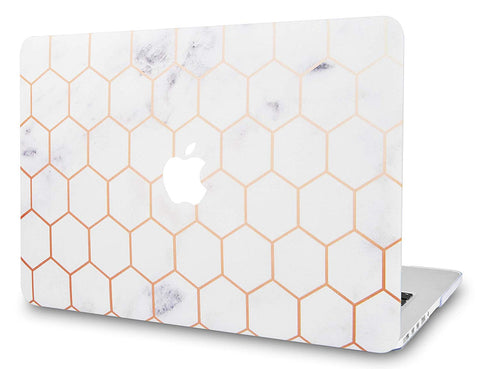 Macbook Case | Marble Collection - White Marble Hexagon - Case Kool