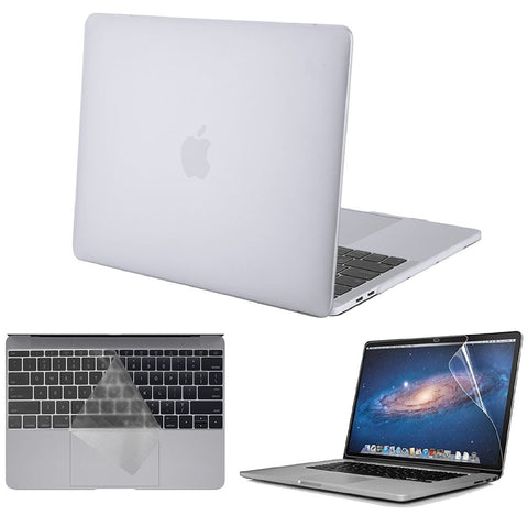 Macbook Case with US/CA Keyboard Cover' and Screen Protector Package | Color Collection - Matte Clear - Case Kool