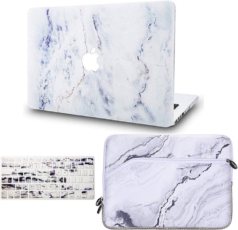Macbook Case with Keyboard Cover and Sleeve Package | Marble Collection - White Marble 3 - Case Kool