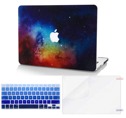 Macbook Case with US/CA Keyboard Cover' and Screen Protector Package | Galaxy Space Collection - Night Dream - Case Kool