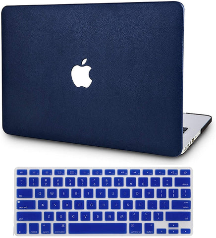 Macbook Case with Keyboard Cover Package | Navy Blue Leather