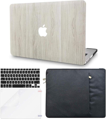Macbook Case with Keyboard Cover, Screen Protector and Sleeve Package | Wood Collection - Pine Wood 2 - Case Kool