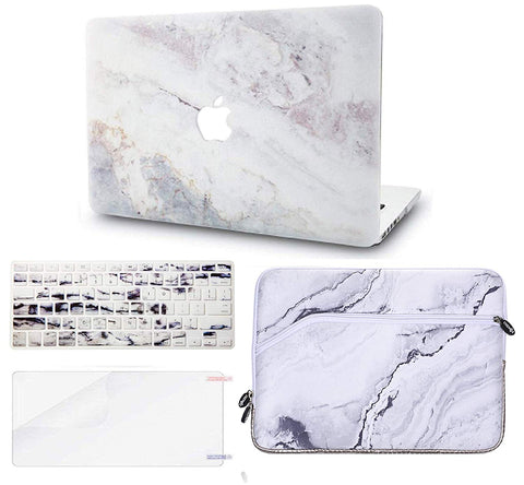 Macbook Case with Keyboard Cover, Screen Protector and Sleeve Package | Marble Collection - White Marble 2 - Case Kool