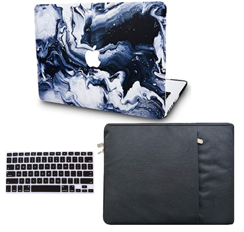 Macbook Case with US/CA Keyboard Cover' and Sleeve Package | Marble Collection - Black Grey Marble - Case Kool