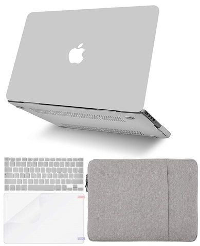 Macbook Case with Keyboard Cover, Screen Protector and Sleeve Package | Color Collection - Stone Grey