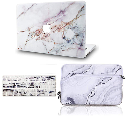 Macbook Case with Keyboard Cover and Sleeve Package | Marble Collection - White Marble 4 - Case Kool