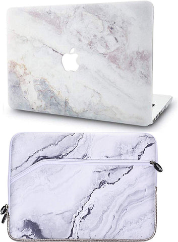 Macbook Case with Sleeve Package | Marble Collection - White Marble 2 - Case Kool