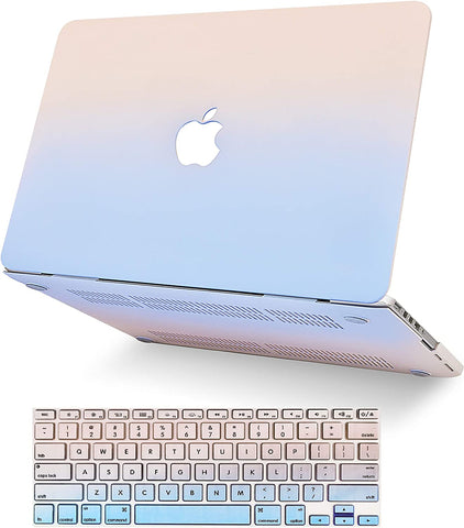 Macbook Case with Keyboard Cover Package |   Pale Pink Serenity Blue