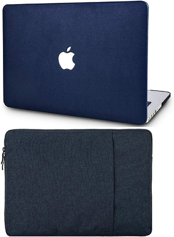 Macbook Case with Sleeve Package | Leather Collection - Dark Blue Leather - Case Kool