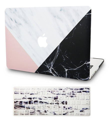 Macbook Case with US/CA Keyboard Cover' Package | Marble Collection - White Marble with Pink Black - Case Kool