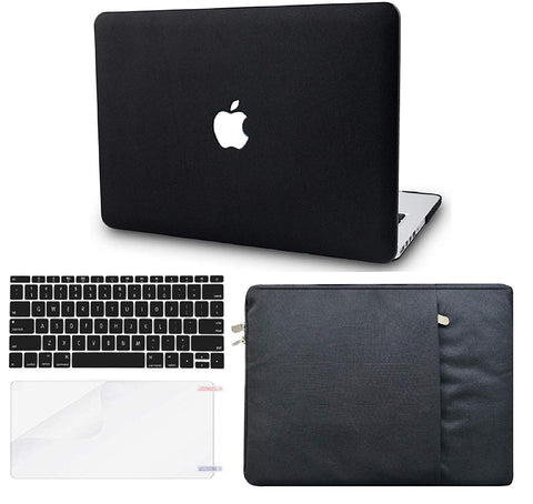 Macbook Case with US/CA Keyboard Cover, Screen Protector and Sleeve Package | Leather Collection - Black Leather - Case Kool