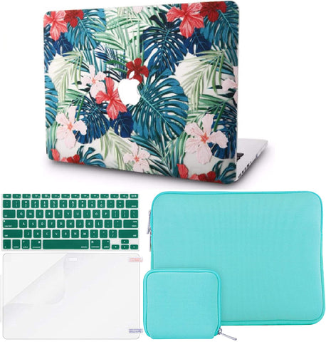 Macbook Case with Keyboard Cover + Slim Sleeve + Screen Protector + Pouch |Palm Leaves Red Flower