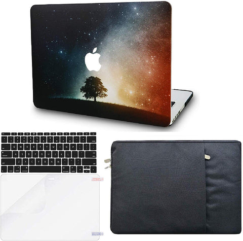 Macbook Case with Keyboard Cover, Screen Protector and Sleeve Package | Galaxy Space Collection - Lonely Tree - Case Kool