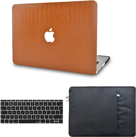 Macbook Case with Keyboard Cover and Sleeve Package |  Matte Chestnut Crocodile Leather