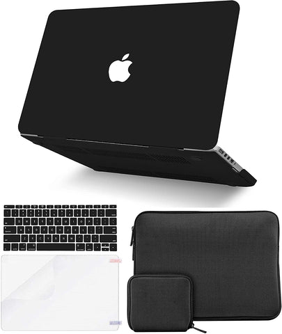 Macbook Case with Keyboard Cover + Slim Sleeve + Screen Protector + Pouch |Matte Black