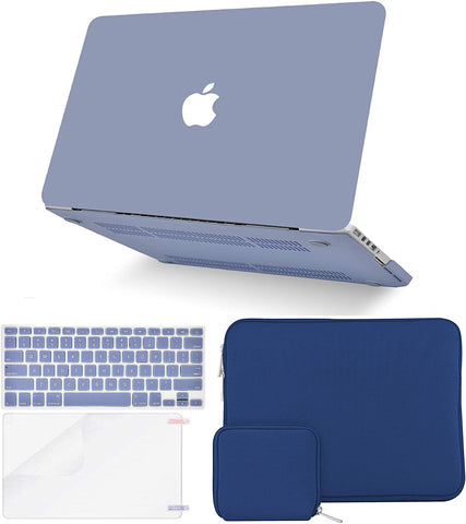Macbook Case with Keyboard Cover + Slim Sleeve + Screen Protector + Pouch |Lavender Grey