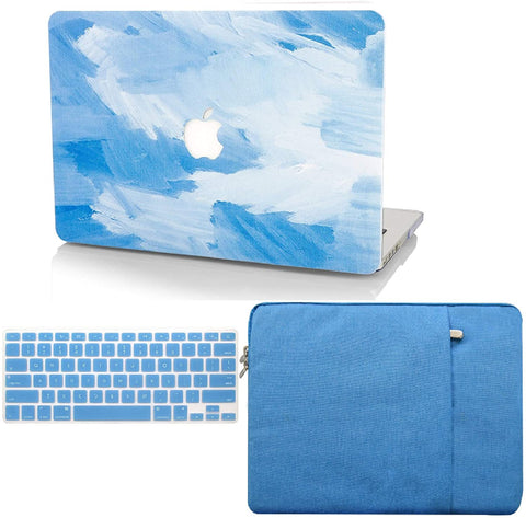Macbook Case with Keyboard Cover and Sleeve Package |    Blue Water Paint