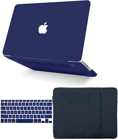 Macbook Case with Keyboard Cover and Sleeve Package |  Matte Navy
