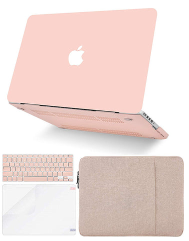 Macbook Case with Keyboard Cover, Screen Protector and Sleeve Package | Color Collection - Pale Pink - Case Kool