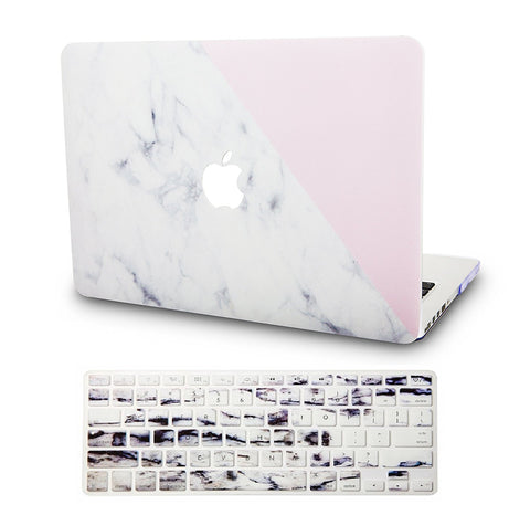 Macbook Case with US/CA Keyboard Cover' Package | Marble Collection - White Marble with Pink - Case Kool