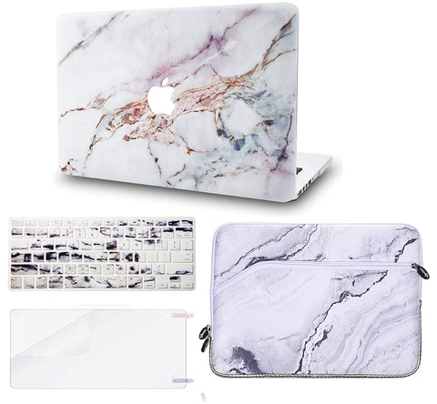 Macbook Case with US/CA Keyboard Cover, Screen Protector and Sleeve Package | Marble Collection - White Marble 4 - Case Kool