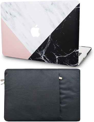 Macbook Case with Sleeve Package | Marble Collection - White Marble Pink Black - Case Kool
