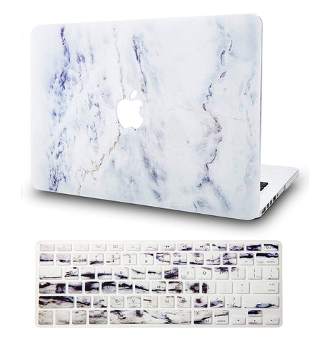 Macbook Case with Keyboard Cover Package | Marble Collection - White Marble 3 - Case Kool
