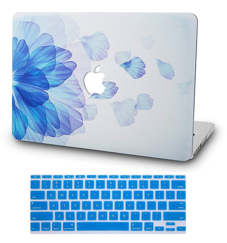 Macbook Case with US/CA Keyboard Cover' Package | Floral Collection - Blue Flower - Case Kool