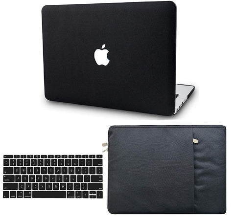 Macbook Case with US/CA Keyboard Cover' and Sleeve Package | Leather Collection - Black Leather - Case Kool