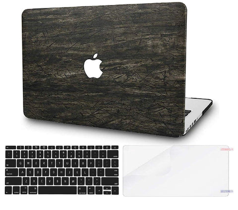 Macbook Case with US/CA Keyboard Cover and Screen Protector Package | Leather Collection - Brown Wood Leather - Case Kool