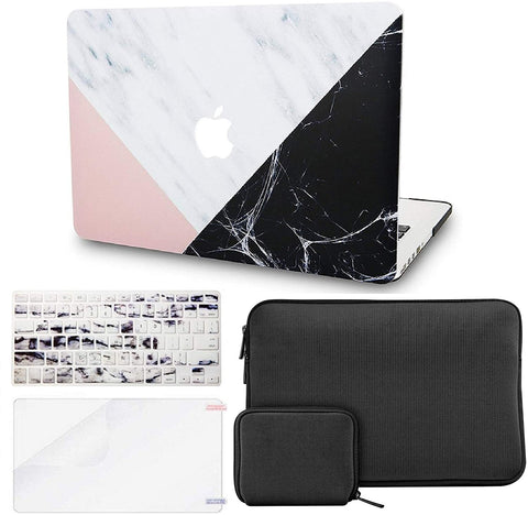 Macbook Case with Keyboard Cover + Slim Sleeve + Screen Protector + Pouch |White Marble with Pink Black