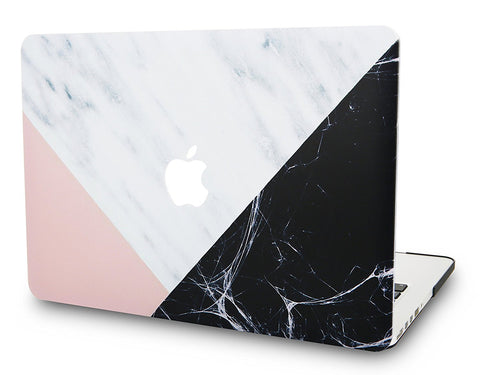 Macbook Case | Marble Collection - White Marble with Pink Black - Case Kool