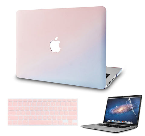 Macbook Case with US/CA Keyboard Cover' and Screen Protector Package | Color Collection - Pale Pink & Serenity Blue - Case Kool