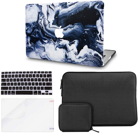 Macbook Case with Keyboard Cover + Slim Sleeve + Screen Protector + Pouch |Black Grey Marble