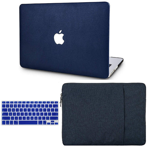 Macbook Case with US/CA Keyboard Cover' and Sleeve Package | Leather Collection - Dark Blue Leather - Case Kool