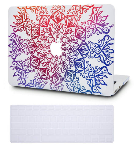 Macbook Case with US Keyboard Cover Package | Color Collection - Colorful Lace - Case Kool
